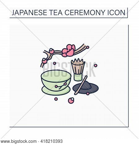 Matcha Color Icon. Unique Tea Ceremony. Matcha Tea Powder Near Teacup. Japanese Ethnic And National