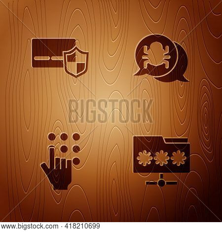 Set Folder With Password, Credit Card Shield, Password Protection And System Bug On Wooden Backgroun