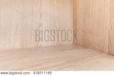 Wooden Beige Box Background For Product Display Montage, Wooden Texture And Detail