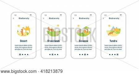 Biodiversity Onboarding Mobile App Screens. Consists Of Desert, Grassland, Savanna, Tundra. Biodiver