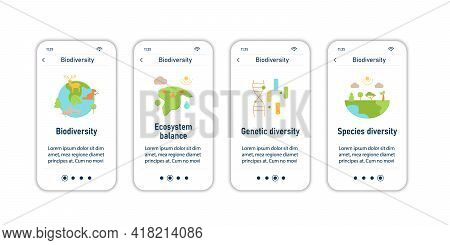 Biodiversity Onboarding Mobile App Screens. Ecosystem Balance, Genetic Diversity, Spacies Diversity.