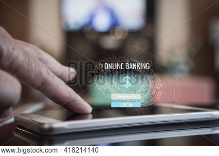 Online Banking Payment By Application Network Internet On Smartphone Sync App For Digital Marketing