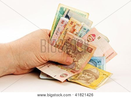 Bank Notes In His Hand.