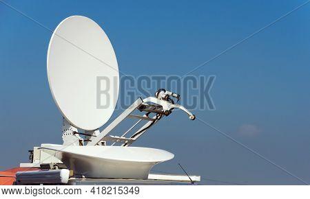 Satellite Dish Antennas. Radio And Tv Signal Antenna