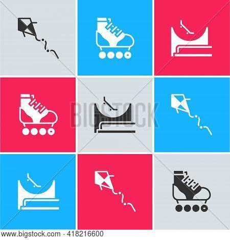 Set Kite, Roller Skate And Skate Park Icon. Vector