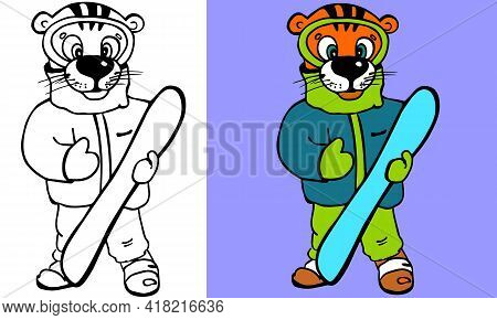 Tiger With Snow Board Cartoon With And Without Color. Coloring Page For Kids Book. Cute Illustration