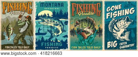 Fishing Vintage Colorful Posters Set With Big Bass And Pike Fishes And Bearded Fisherman Caught Perc