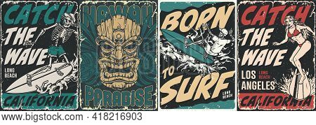 Surfing Vintage Posters Collection With Wooden Tiki Mask Tropical Leaves Skeletons And Pretty Girl S