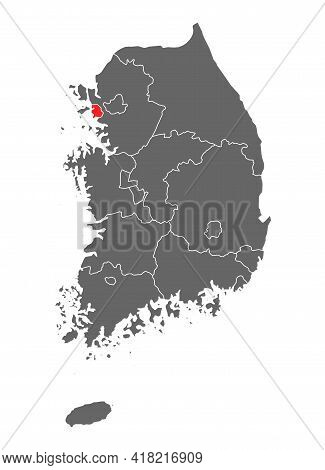 Map Korea Of Republic With Red Detailed Province, South Korea Isolated On White Background .