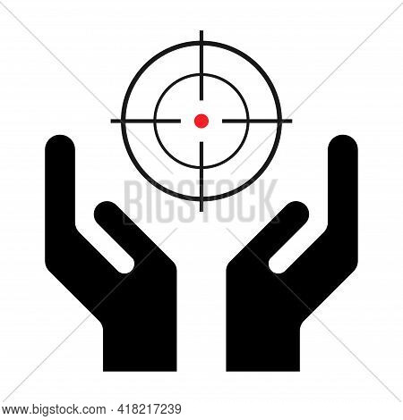 Hope Icon, Human Hand With Crosshair Symbol, Help And Protection Graphic Design, Support Vector Illu