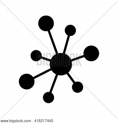 Hub Flat Network Icon, Connect Structure Vector Symbol Isolated On White Background, Technology Syst