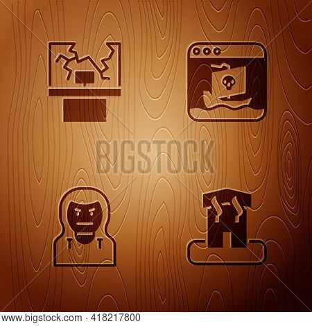 Set Arson Home, Broken Window, Thief Mask And Internet Piracy On Wooden Background. Vector