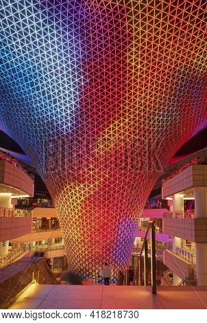 Shanghai, China. October 6, 2015.  A Changing Light Show At The River Mall In Shanghai China Puxi At