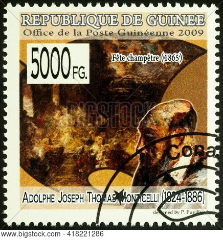 Moscow, Russia - April 23, 2021: Stamp Printed In Guinea Shows Adolphe Monticelli And His Picture Ga