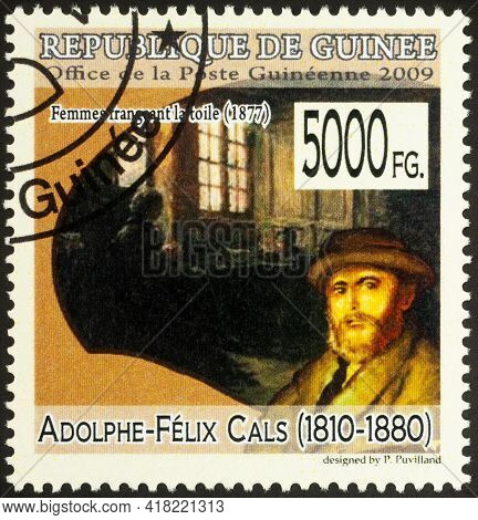 Moscow, Russia - April 25, 2021: Stamp Printed In Guinea Shows French Artist Adolphe-felix Cals, And