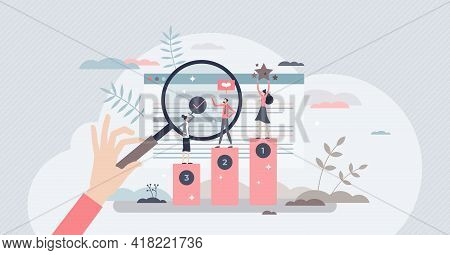 Online Ranking And Websites Search Engine Top Results Tiny Person Concept. Seo For Marketing Optimiz