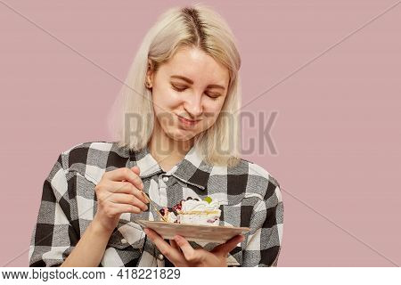 Shy Pretty Blond Girl With Sweet Dessert On Pink Background Smiling