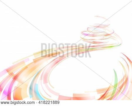 Abstract Spiral Stripes In Form Of Loops And Arcs. Flow Of Lines And Ribbons For Abstract Background
