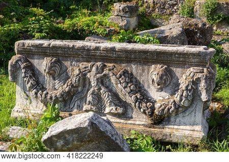 Relief Stone Carving, Architecture Detail In Roman Agora, Athens, Greece. Classical Greek Ornament F