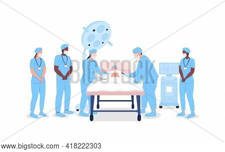 Medical Interns Watching Professional Surgeons At Procedure Flat Color Vector Faceless Characters. M