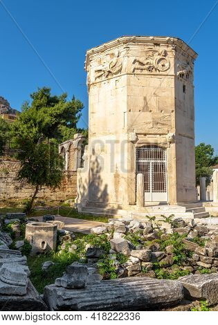 Tower Of Winds Or Aerides In Roman Agora, Athens, Greece. It Is Landmark Of Athens. Ancient Greek Ru