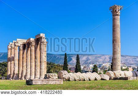 Fallen Columns Of Temple Of Olympian Zeus, Athens, Greece. Ancient Building Of Zeus Or Olympieion Is