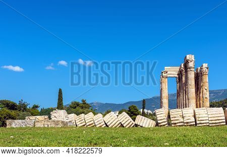 Fallen Columns Of Temple Of Olympian Zeus, Athens, Greece, Europe. Ancient Building Of Zeus Is Famou