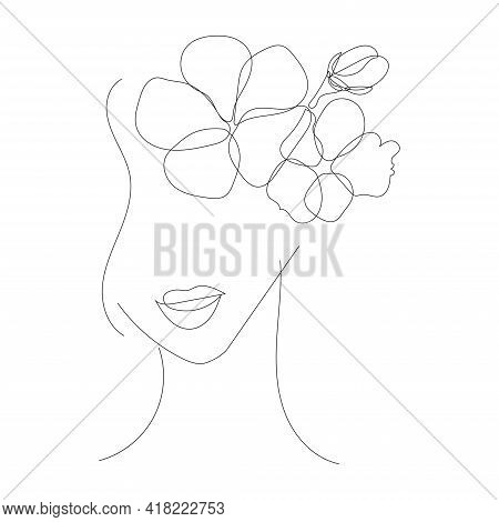 Stylized Face Of A Woman With Flowers. A Hand-drawn Portrait Of A Young Girl In The Style Of A Singl