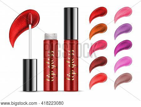 Opened Red Lip Gloss Tube. Isolated On White. Vector Illustration.