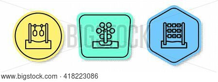 Set Line Gymnastic Rings, Ferris Wheel And Tic Tac Toe Game. Colored Shapes. Vector