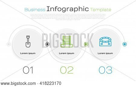 Set Line Shovel Toy, Swedish Wall And Jumping Trampoline. Business Infographic Template. Vector