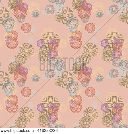 Messy Colorful Concentric Circles. Festive Seamless Pattern With Round Shapes. Grunge Dotted Texture
