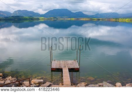 Liptovska Mara Lake Of Slovakia. Beautiful Landscape In Spring. Reflection On The Water Surface. Dis