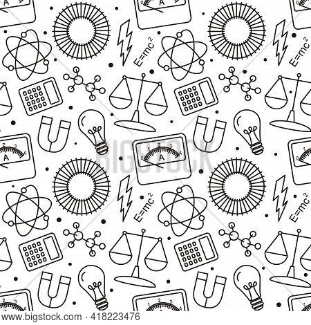 Seamless Doodle Pattern With School Elements. Pattern With Physics Objects: Ammeter, Molecules, Flas