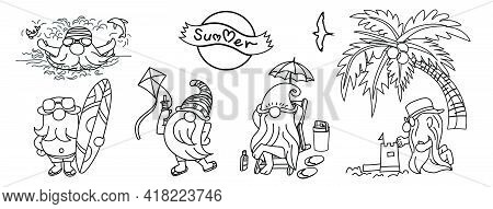 Summer Gnomes, Drawing Of Gnomes With Many Activities For Summer, Swimming, Surf, Kite Flying, Build