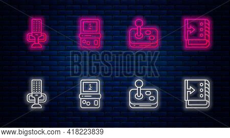Set Line Tetris, Joystick, Microphone And Sound Mixer Controller. Glowing Neon Icon On Brick Wall. V