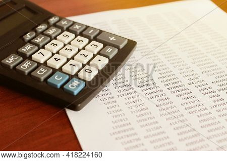 Business Concept With Calculator, Money And Documents. High Quality Photo