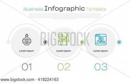 Set Line Poison In Bottle, Broken Window And Internet Piracy. Business Infographic Template. Vector