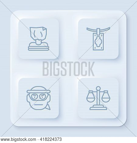 Set Line Kidnaping, Money Laundering, Bandit And Scales Of Justice. White Square Button. Vector