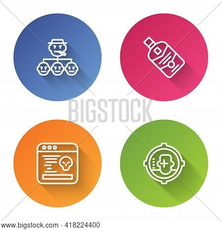 Set Line Mafia, Whiskey Bottle, System Bug And Headshot. Color Circle Button. Vector
