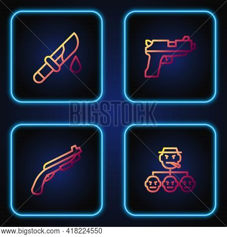 Set Line Mafia, Police Shotgun, Bloody Knife And Pistol Or. Gradient Color Icons. Vector
