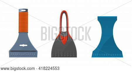 Set Scrapers For Automobile Window Cleanup Vector Illustration Cleaning Snow And Ice From Vehicle
