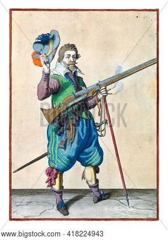 A soldier on guard, full-length, to the right, holding a musket, by his right side, his left hand around the fork of the furket, on which the barrel, tilted upwards, rests