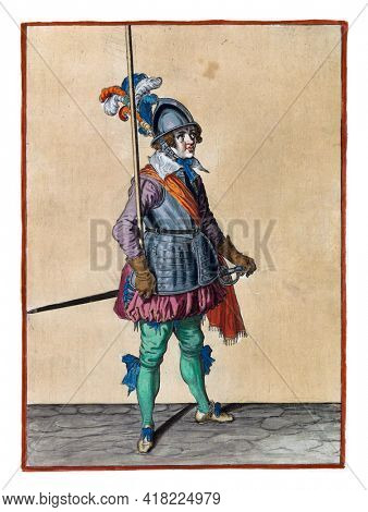 A soldier, full-length, to the right, holding a spear (lance) with his right hand upright in the socket of his right arm. This is the third act of lifting the skewer upright