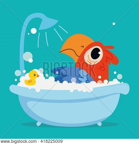 A Cute Pirate Parrot Macaw Bathes In A Bath. Vector Print For Children. Cartoon Character Of Childre
