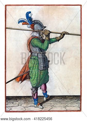 A soldier, full-length, to the right, lifting a spear (lance) with both hands horizontally above his right shoulder