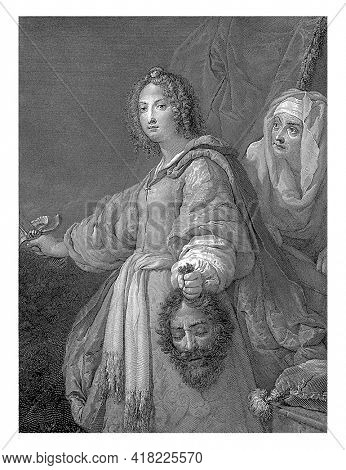 Judit stands with a sword in hand and shows the spectator the severed head of Holofernes. Behind her is her servant.