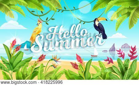 Summer Beach Landscape, Tropical Paradise Background, Toucan, Parrot, Exotic Flowers, Ocean, Sand, R
