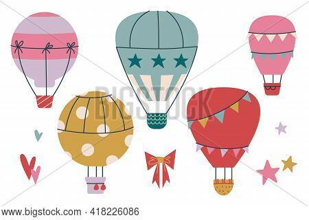 Set Of Cliparts Hot Air Balloon In The Sky With Clouds. Vector Print For Children. Flight In The Sky