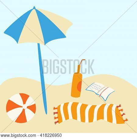 Beach Set. Beach With Umbrella, Striped Towel, Ball ,book And Drink. Good Sunny Day. Vector Travel A